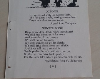 1930's book page October poem by Alfred Lord Tennyson illustrated 1939 and Winter Song poem