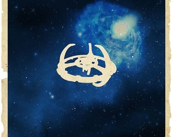 09-ST Star Trek Deep Space 9 Base Station and Wormhole  Poster Print
