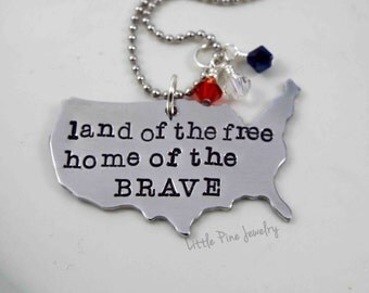 USA Necklace, America Necklace, Patriotic Necklace, Patriotic Jewelry, USA Map, 4th of July Necklace, State Necklace, Red White and Blue