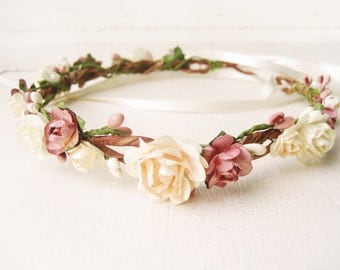 Flower crown, Rustic wedding hair accessories, Bridal headpiece, Floral headband, Wreath, Pink, Ivory - MACAROON