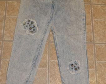 80s Stefano studded acid wash high waisted vtg 9 / 10  snap ankles grunge vintage womens blue denim jeans