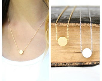 Gold/Silver circle Necklace, Gold circle Charm Necklace, Silver circle Charm Necklace,  Bridesmaid Gift, Wedding, Graduation, Love