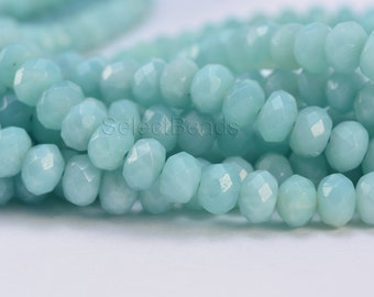 Chinese amazonite abacus beads -  blue faceted rondelle gemstone beads -  aqua blue gemstone beads - blue spacer beads -15inch