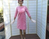 60's Embroidered Hot Peony Pink Sheath . Vintage Spring / Summer Shift Dress . Three Quarter Sleeves . Mad Men style . Jackie O Chic