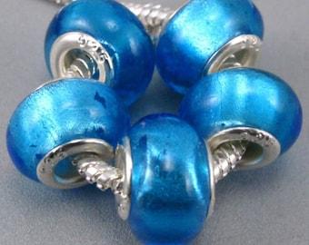 1x Murano Blue Foil Glass Beads -Blue Foil Bead - Large Hole - Fit European Charm Bracelet and Necklace - A111
