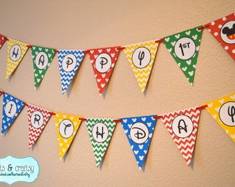Mickey Mouse Clubhouse Party Happy Birthday Banner / Mickey Mouse First Birthday Banner / Mickey Mouse Clubhouse