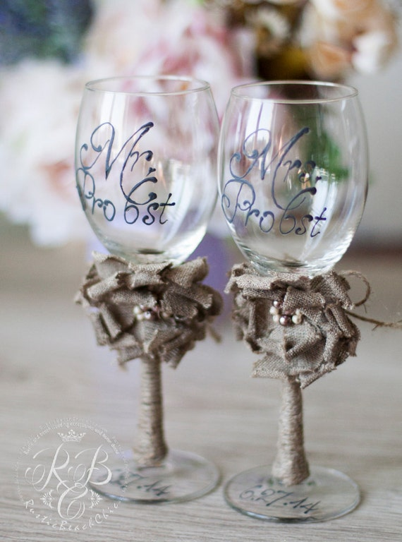Personalized wedding wine glasses rustic chic