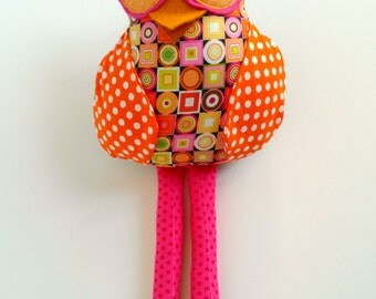Fabric owl doll, Plush owl, Owl decoration, Orange brown pink, Polka dot cloth owl, Stuffed animal, Patchwork rag doll, Child's owl toy