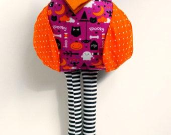 Halloween owl doll, Owl decoration, Stuffed fabric owl, Orange purple black, Cloth owl toy, Plush owl, Autumn Fall decor, Patchwork rag doll