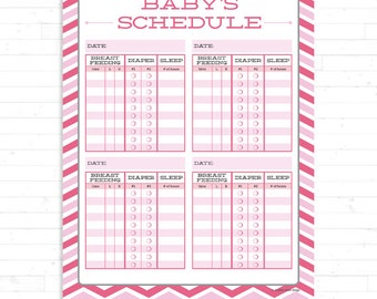 Popular items for baby schedule on etsy for Baby routine template
