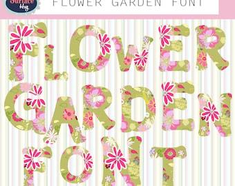 Digital font FLOWER GARDEN FONT digital letters Fonts for Teachers Font download Digital clipart Flower clipart alphabet letter art stamp