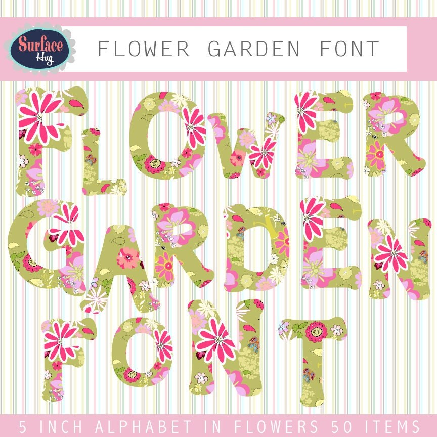 Letters Garden: Digital Font FLOWER GARDEN FONT Digital Letters Fonts For