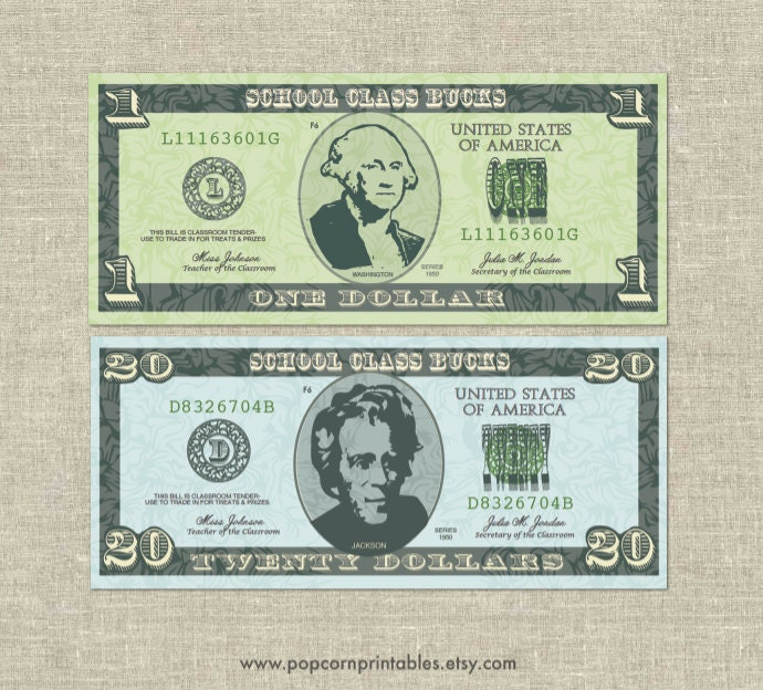 Classroom bucks play money instant download pdf file for Classroom bucks template