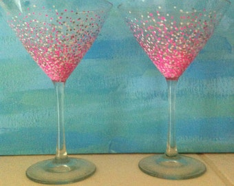 Hand Painted Confetti Design Martini Glasses - set of 2