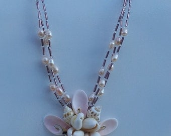 Handmade  necklace with real shell and fresh water pearl #00N12
