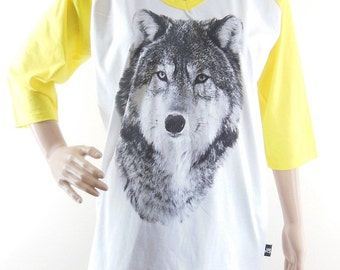 Wolf shirt animal shirt women shirt  baseball shirt raglan shirt long sleeve shirt size L