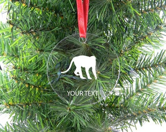 Personalized Custom Monkey Clear Acrylic Christmas Tree Ornament with Ribbon