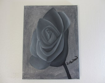 Monochrome Grey Rose Mixed Media Painting