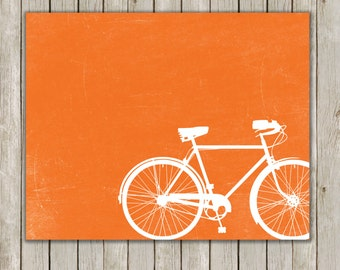8x10 Bicycle Circle Art Print, Poster Printable, Orange Art, Office Decor, Nursery Art, Home Decor, Bike Poster, Instant Digital Download