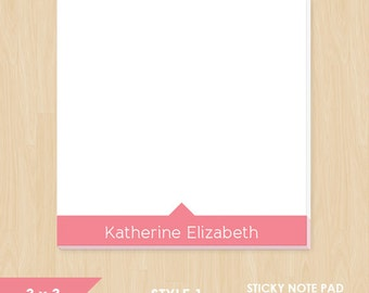 Personalized Sticky Note // Colored Name // S114
