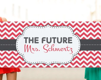 Vinyl Hot Pink Chevron Bridal Shower or Bachelorette Banner— Customize with any Colors, Style or Theme!