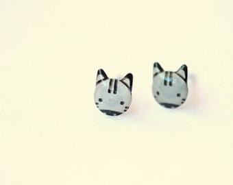 LIttle zebra stud earrings - tiny post earrings