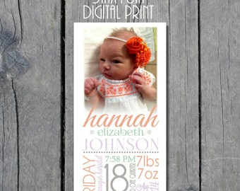 5x10 Baby Girl Nursery Birth Announcement Instant Download Wall Decor