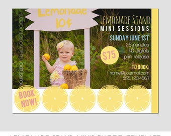 INSTANT DOWNLOAD - Lemonade Stand Session Photography Template - Marketing Template - Summer Minis - Lemon - Yellow - Postcard
