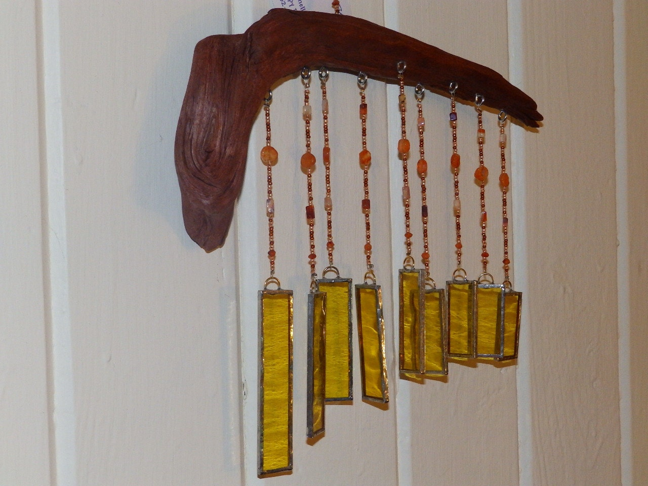 Windchime stained glass driftwood for How to make stained glass in driftwood