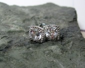 White Sapphire Sterling Silver Post Earrings, Ready to Ship