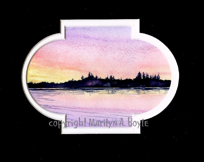 ORIGINAL WATERCOLOR PAINTING - matted in black, 8 x 10 inch, sunrise on lake, miniature art, wall art,