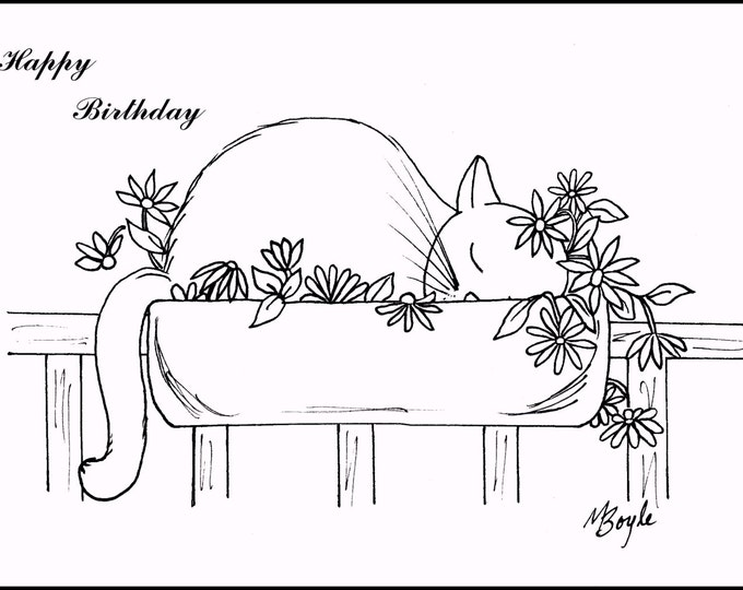 SET of CAT CARDS; pen and ink original drawings,coloring birthday cards, adult & children coloring, original art,