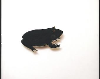 Green Spiny Toad Brooch - Endangered Amphibian Colour Illustration Brooch