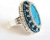 Dramatic adjustable bead embroidery ring in silver and turquoise