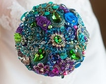 "Gold and Green Peacock Wedding brooch bouquet.""Tales of Maharajah"" Blue, Magenta, Emerald wedding bouquet. Bridal broach bouquet,Ruby Blooms"