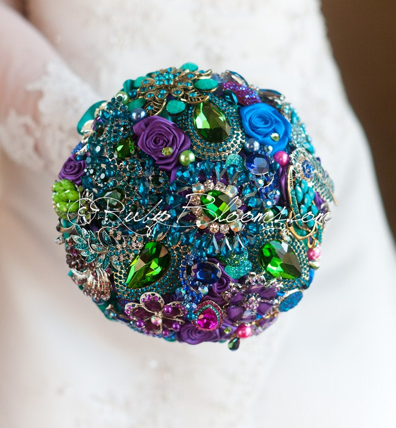 Peacock Wedding Ideas Etsy: Gold And Green Peacock Wedding Brooch By Rubybloomscom On Etsy