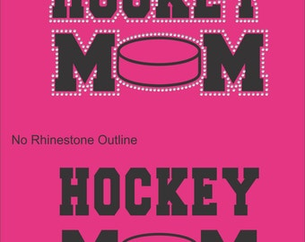 Hockey Mom Sweatshirt/ Hockey Sweatshirt/ Vinyl Rhinestone Hockey Mom Hoodie Sweatshirt/ Hockey Mom Gift
