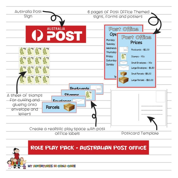 Preschool Australian Post Office Dramatic Role Play Set