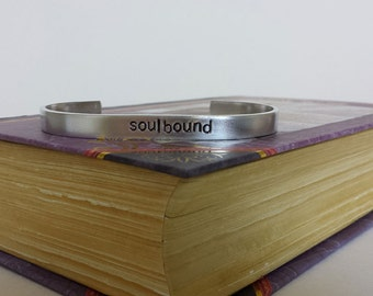 Soulbound - World of Warcraft Inspired Aluminum Bracelet Cuff - Hand Stamped