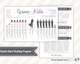Silhouette Wedding Program Design • Optional Colored Dresses/Ties • Printable • Choose Your Silhouettes • ANY Colors • Double Sided • Unique