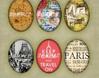 """Set (148) Paris Vintage 30x40mm Ovals en 4""""x6"""" digital collage sheet - instant download"""
