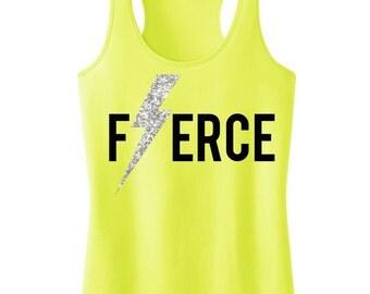 FIERCE Glitter Lightning Workout Tank, Workout Clothing, Workout Tanks, Gym Tank, workout tank top, Motivational, Workout Shirt, Fitness