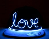 El Wire Snapback Love Hat in Blue, Yellow, Green, Purple, Pink, White or Orange - Perfect for: Electric Zoo, EDC, Coachella, Ultra, Rave hat