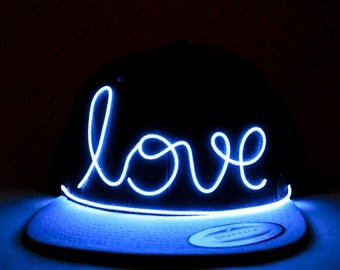 Light Up Love Hat made with El Wire in all colors; blue, green, orange, yellow, pink, purple, white