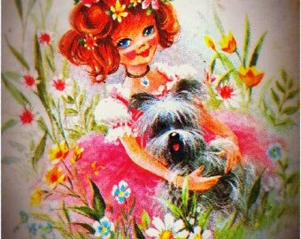 Original Vintage Retro Card Blank 1960s 1970s Newly restored flower power girl Puppy Graphic