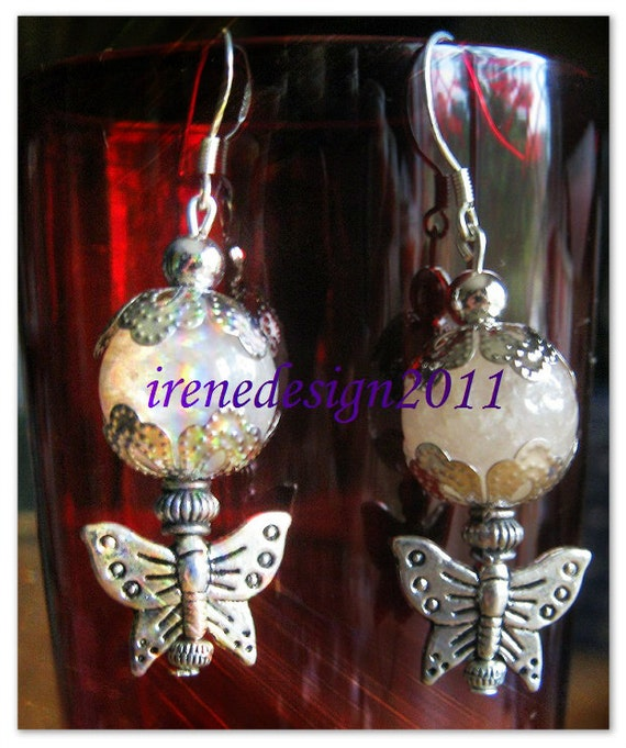 Handmade Silver Hook Earrings with Morganite & Butterflies by IreneDesign2011