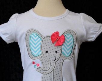 Personalized Elephant Applique Shirt or Onesie Girl