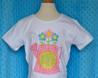 Personalized Watering Can Flowers Applique Shirt or Onesie Girl