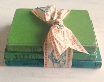 A Bundle of Vintage Books From 1940's & 50's in Shades of Green for Home Decor