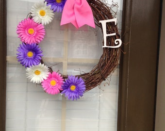 Pink & Purple Daises with Monogram on Vine